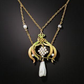 Art Nouveau Natural Freshwater Pearl and Enamel Festoon Necklace - 2