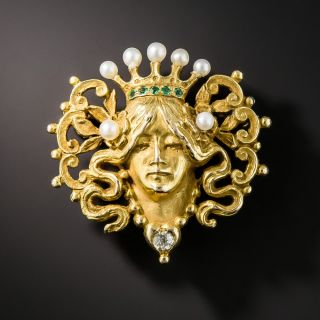 Art Nouveau Pearl Diamond and Demantoid Pin - 1