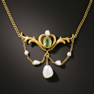 Art Nouveau Peridot And Freshwater Pearl Necklace - 2