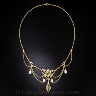 Art Nouveau Peridot and Freshwater Pearl Swag Necklace