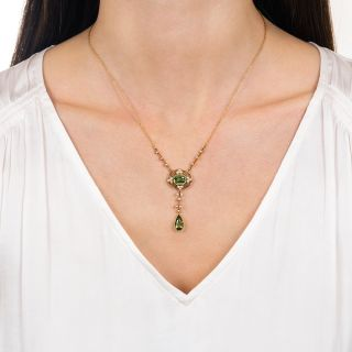 Art Nouveau Peridot and Pearl Drop Necklace