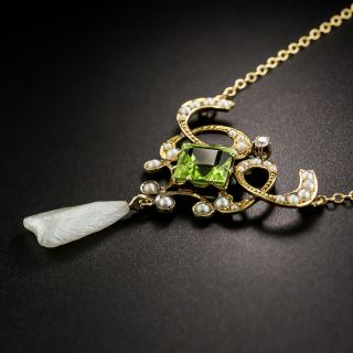 Art Nouveau Peridot and Pearl Necklace by Ehrlick and Sinnock