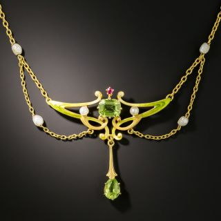 Art Nouveau Peridot and Pearl Pendant - 2