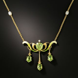 Art Nouveau Peridot Enamel Necklace