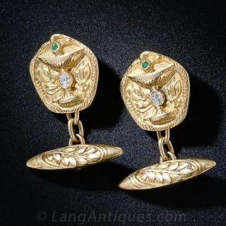 Art Nouveau Serpent and Chalice Cufflinks