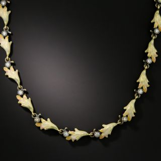Art Nouveau Style Diamond and Enamel Necklace - 2