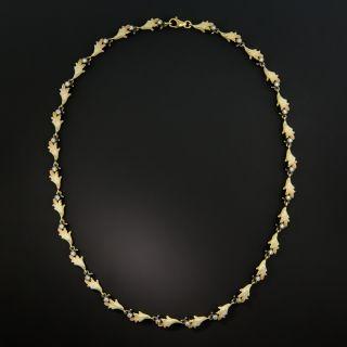Art Nouveau Style Diamond and Enamel Necklace
