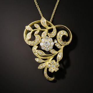 Art Nouveau Style Diamond Floral Pendant/Brooch - 2
