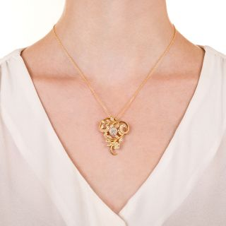 Art Nouveau Style Diamond Floral Pendant/Brooch