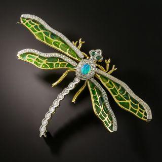 Art Nouveau Style Plique-a-Jour Dragonfly Brooch - 2