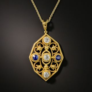 Arts and Crafts Diamond and Sapphire Pendant Necklace - 2