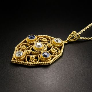Arts and Crafts Diamond and Sapphire Pendant Necklace