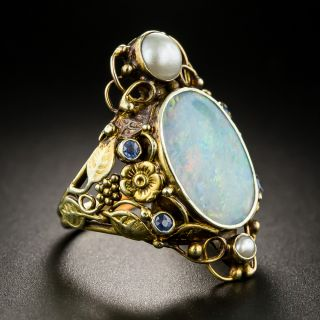 Arts and Crafts Opal Sapphire and Pearl Dinner Ring