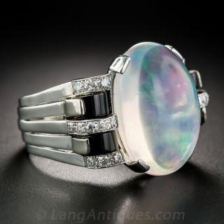 Austrian Jelly Opal, Onyx and Diamond Ring