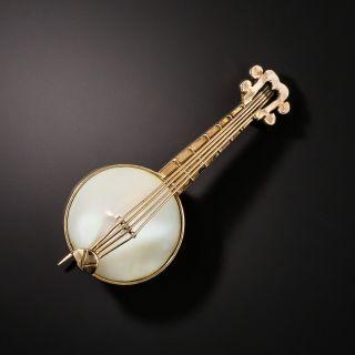 Banjo Mother of Pearl Brooch