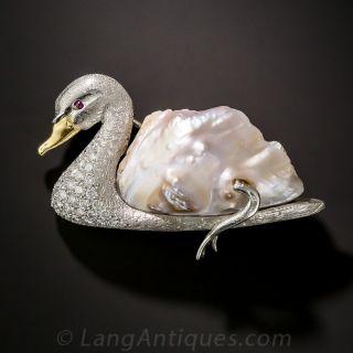 Baroque Pearl and Diamond Swan Brooch - 1