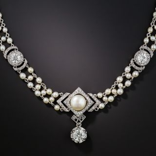 Belle Epoque Diamond and Natural Pearl Necklace - 1