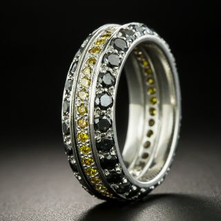 Black & Golden Diamond Eternity Wedding Band -- Size 5 3/4 - 2