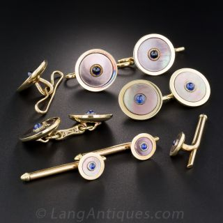 Black Mother-of-Pearl with Sapphire Stud Set by Carrington and Co.