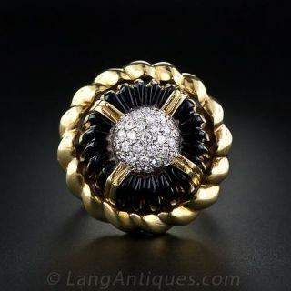 Black Onyx and Diamond Fashion Ring