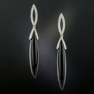 Black Onyx and Pave Diamond Earrings - 2