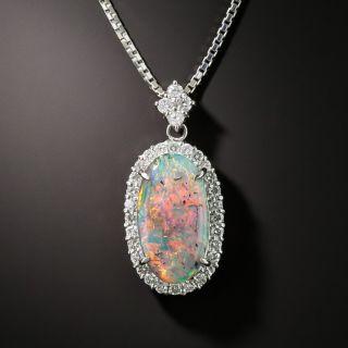 Black Opal Diamond Platinum Pendant Necklace - 2