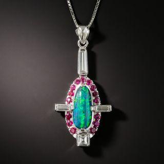Black Opal Ruby Diamond Pendant Necklace - 1