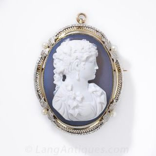 Blue Agate Cameo Pin - 1