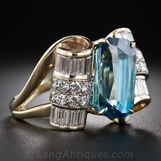 Blue Zircon and Diamond Estate Cocktail Ring