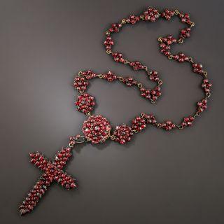 Bohemian Garnet Cross Necklace