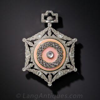 Boucheron Platinum, Diamond and Guilloche Enamel Pendant Watch - 2