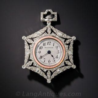 Boucheron Platinum, Diamond and Guilloche Enamel Pendant Watch