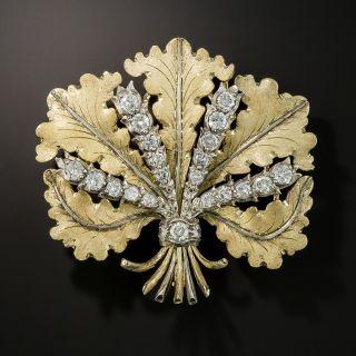 Buccellati Diamond Leaf Brooch - 1
