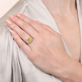 Bulgari 3.78 Carat Fancy Vivid Yellow Radiant-Cut Diamond Ring