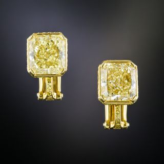 Bulgari 6.37 Carat Natural Fancy Yellow Diamond Earrings - GIA - 3