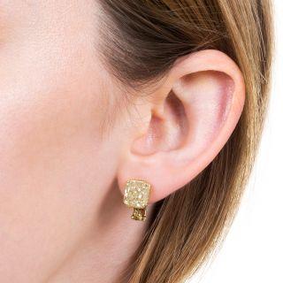 Bulgari 6.37 Carat Natural Fancy Yellow Diamond Earrings - GIA