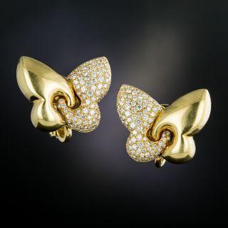 "Bulgari ""Farfalla"" Butterfly Diamond Clip Earrings - 3"