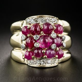 Cabochon Ruby and Diamond Cocktail Ring