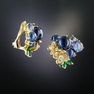 Cabochon Sapphire, Diamond and Emerald Flower Earrings