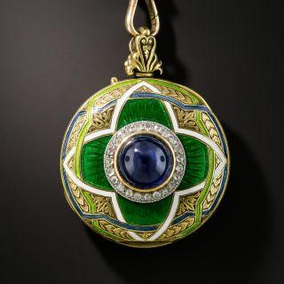 Cabochon Sapphire Enamel and Diamond Pendant Necklace Watch