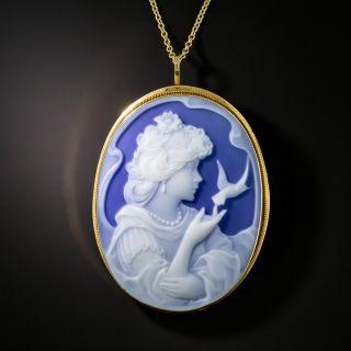 Blue Chalcedony Cameo Pendant / Brooch