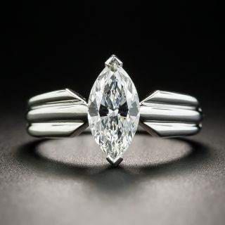 Cartier 1.10 Carats Marquise Diamond Engagement Ring - GIA E VVS2, French