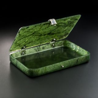 Cartier Art Deco Nephrite Case with Diamonds and Sapphires