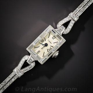Cartier Platinum and Diamond Mid Century Bracelet Watch - 3