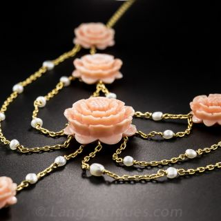 Carved Coral and Pearl  Swag Necklace