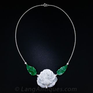 Carved Jade and Diamond Necklace