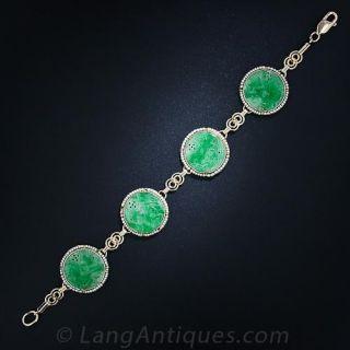Carved Jade & Seed Pearl Bracelet