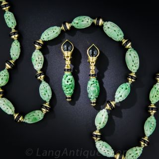 Carved Jade Necklace and Earring Set - 1