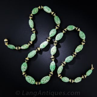 Carved Jade Necklace and Earring Set