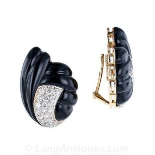 Carved Onyx and Diamond Clip Earrings
